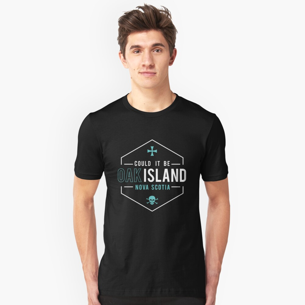Could It Be Oak Island NS Skull and Cross Gift T-Shirt - White Unisex T-Shirt Front