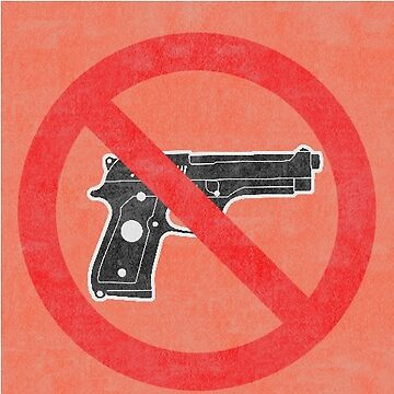 Just Say No to Guns Sticker Pistol Textured Orange by Oldskool0482