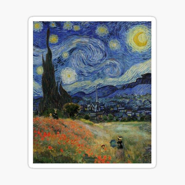 Claude Monet Poppy Fields Vincent Van Gogh Starry Night   Collage 2.0 by Bohemian Bear Sticker