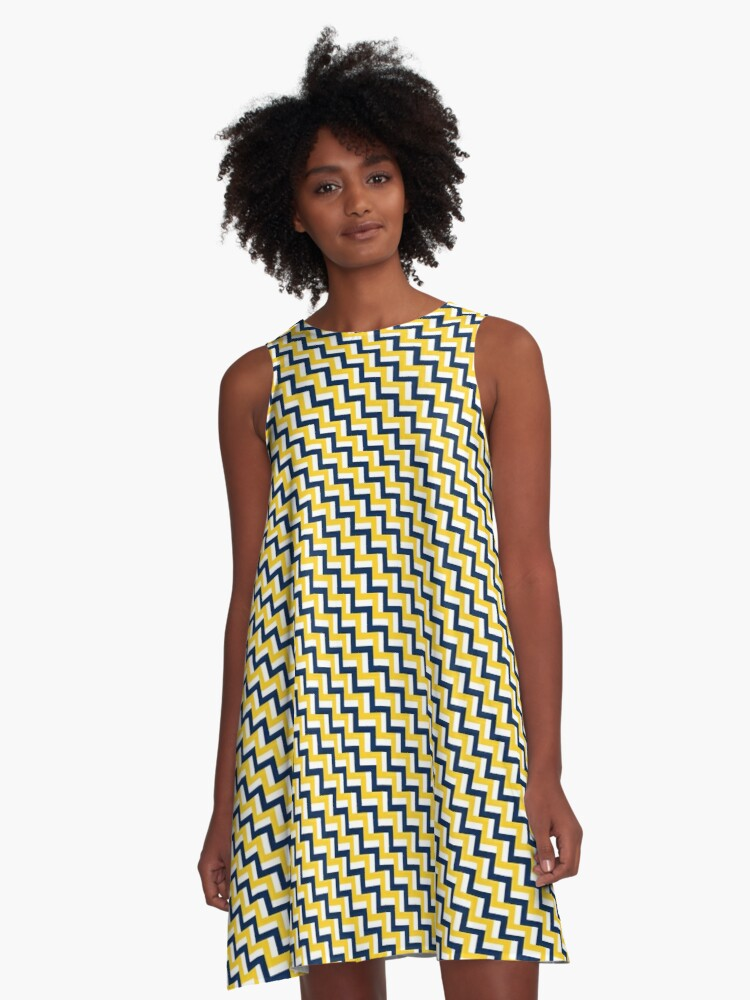 Retro Zig Zag | Great Lakes A-Line Dress Front