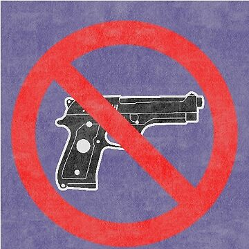 Just Say No to Guns Sticker Pistol Textured Purple by Oldskool0482