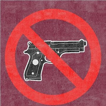 Just Say No to Guns Sticker Pistol Textured Red by Oldskool0482