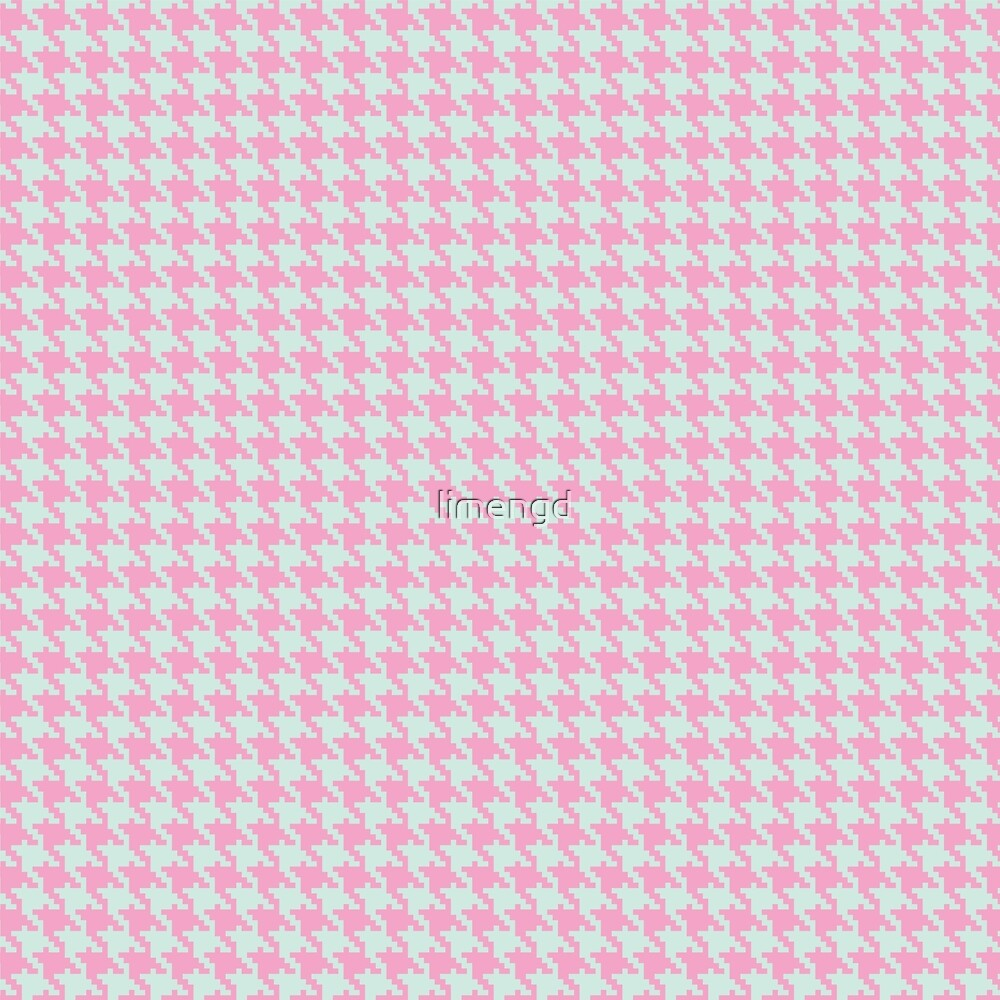 Pink & Green Pixelated Houndstooth Pattern by limengd