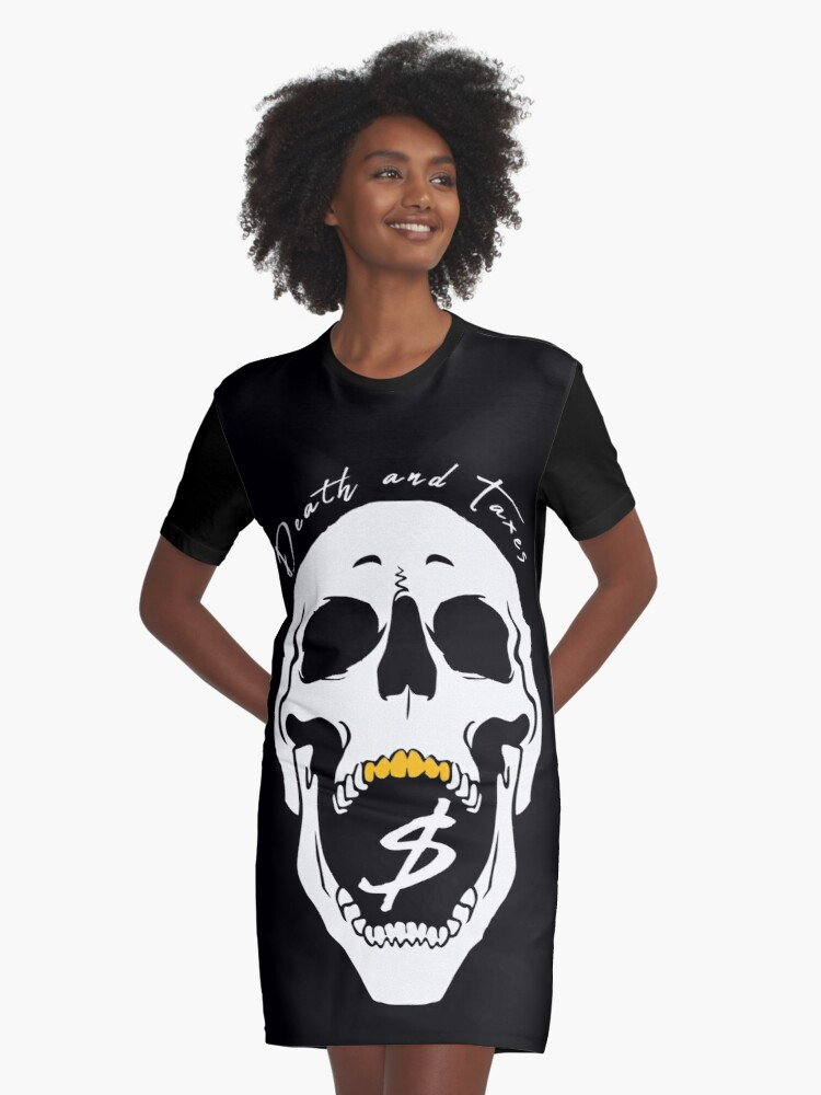 Death & Taxes Skull Graphic T-Shirt Dress Front