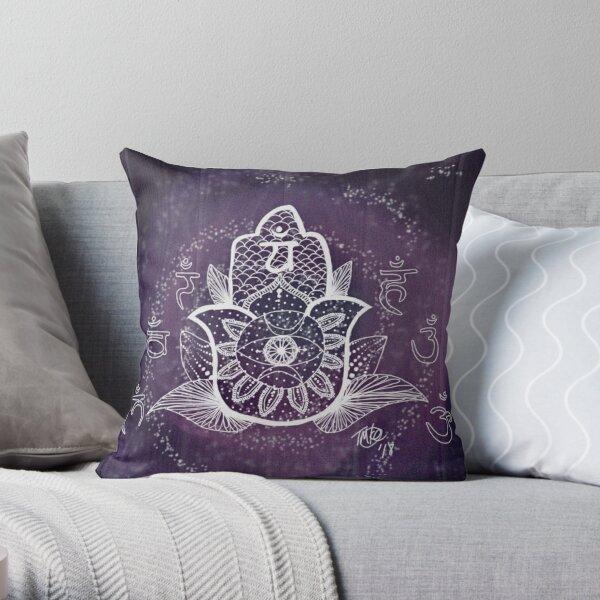 Galaxy Hamsa Throw Pillow