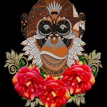 Day Of The Dead Brown Monkey by Atteestude
