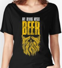 Distressed My Beard Needs Beer Women's Relaxed Fit T-Shirt