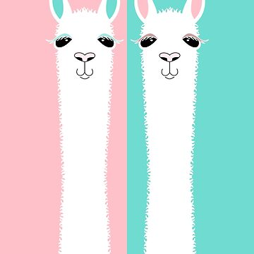 TWO LLAMA ON PINK AND BLUE by jgevans