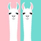 TWO LLAMA ON PINK AND BLUE by Jean Gregory  Evans