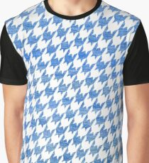 Blue and White houndstooth pattern Graphic T-Shirt