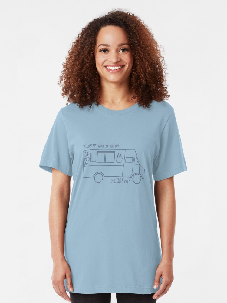 Alternate view of The Little Kitchen: They See Me Rollin' Slim Fit T-Shirt
