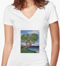 Twisted Coastal Textures Women's Fitted V-Neck T-Shirt
