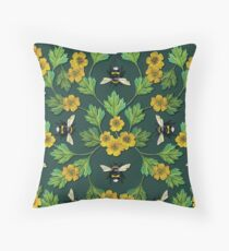 Bumblebees and Buttercups - Green & Yellow Floral/Botanical Pattern Throw Pillow