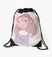 Pastel Flower Garden Girl Drawstring Bag