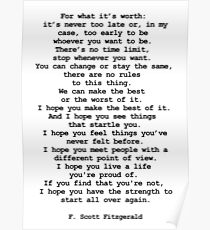 For what it's worth by F Scott Fitzgerald #minimalism #poem  Poster