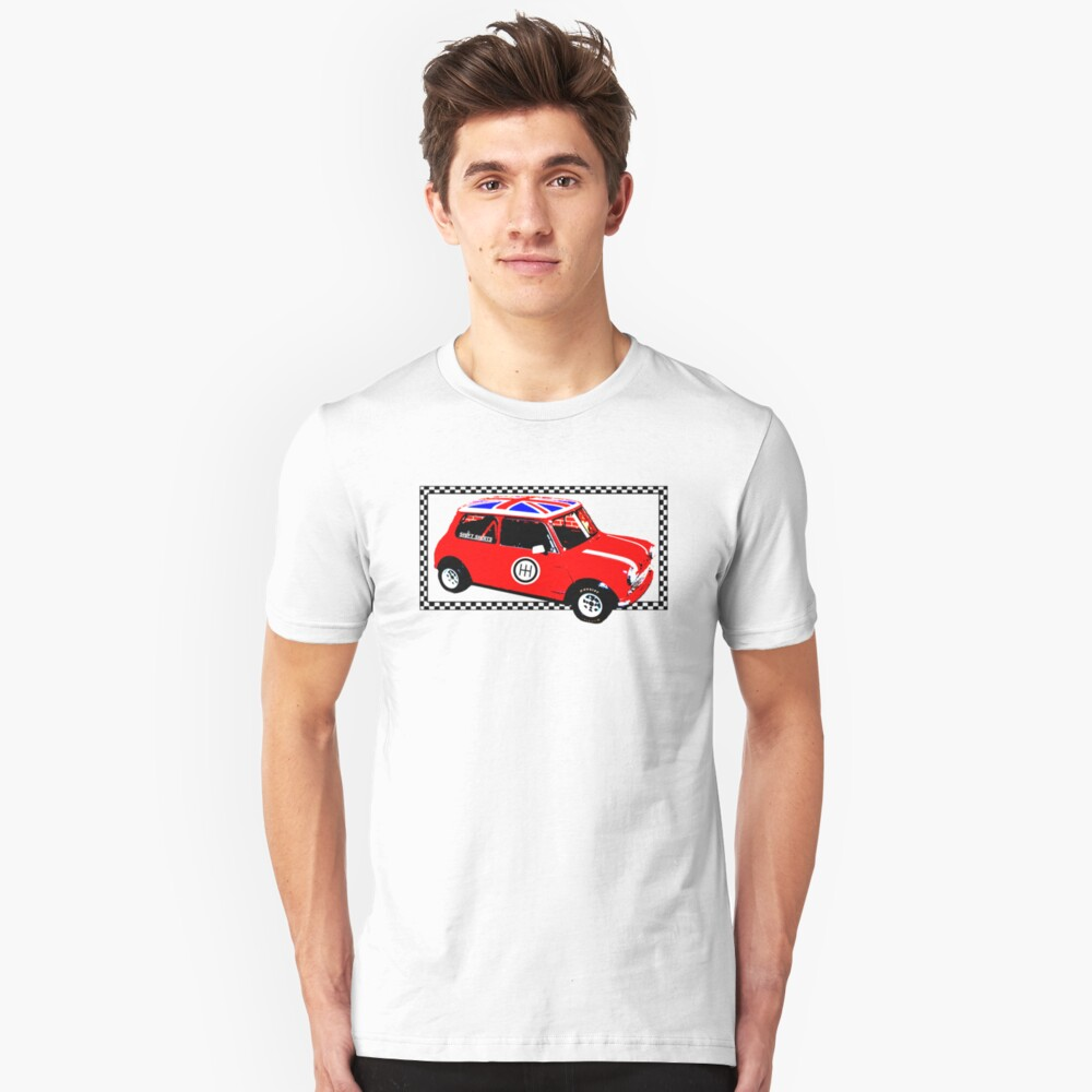 Shift Shirts Small Packages – Morris Mini Cooper Inspired Unisex T-Shirt Front