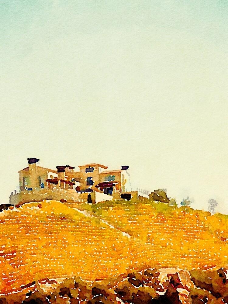 Villa in the Vineyard Watercolor by Douglas E.  Welch