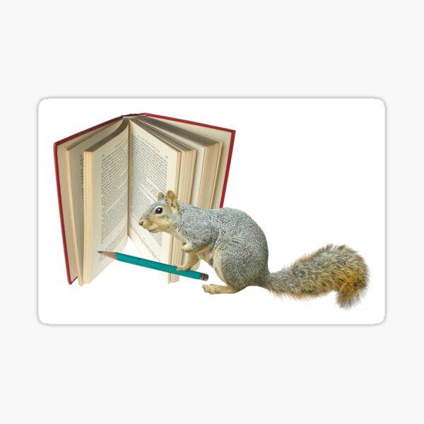 Squirrel Pencil Book Sticker