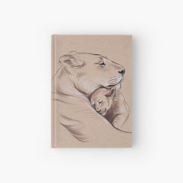 """A Mother's Pride"" Lioness and cub original pencil drawing. Hardcover Journal"