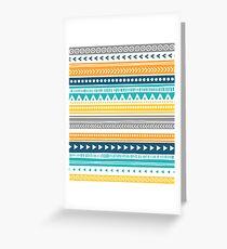 Orange Yellow Blue Tribal Pattern Greeting Card