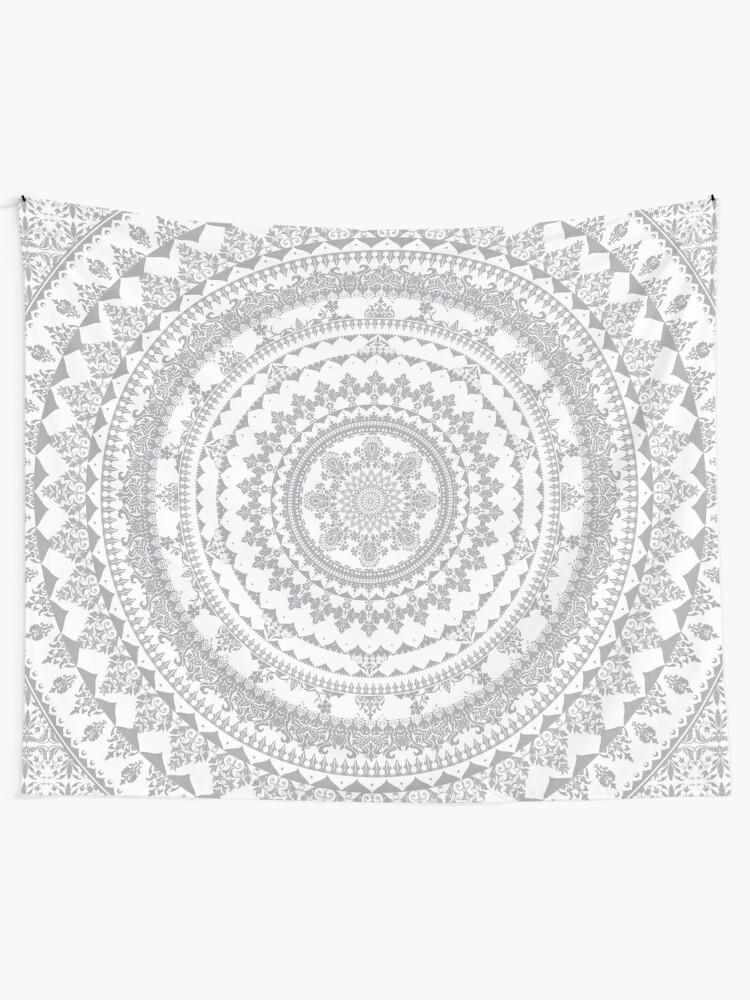 Alternate view of Mandala Gray Tapestry