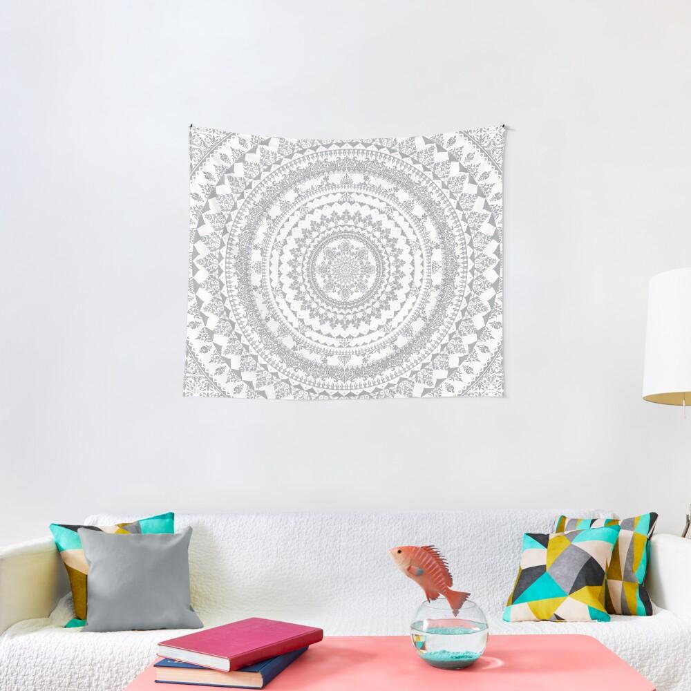 Mandala Gray Tapestry