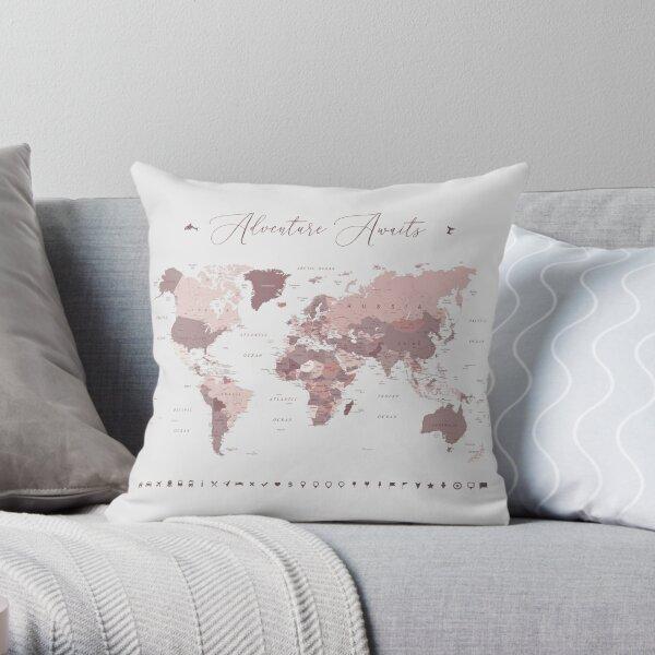 Pink World Map - Adventure Awaits Throw Pillow