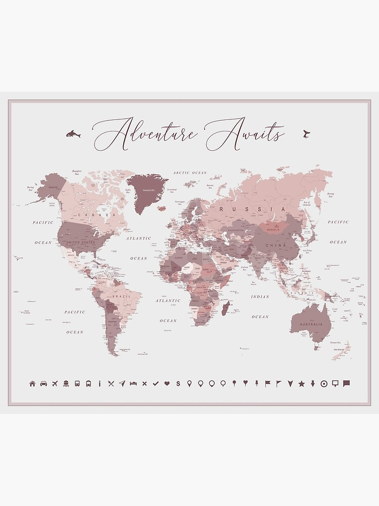 Pink World Map - Adventure Awaits by UrbanEpiphany