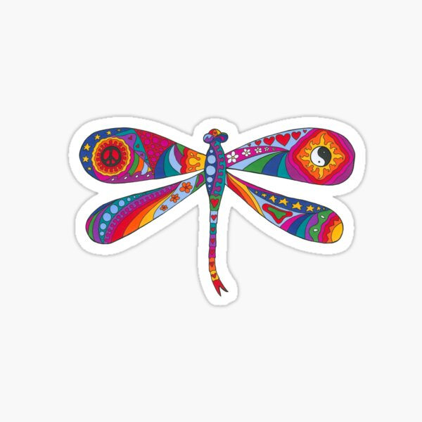 Psychedelic Dragonfly Sticker