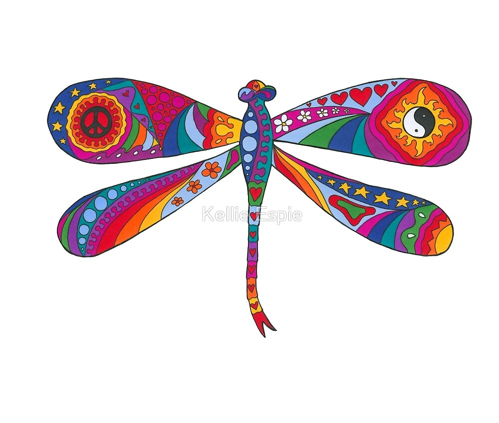 Psychedelic Dragonfly by Kellie Espie