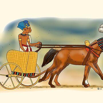 Akhenaten and Nefertiti in a Chariot by Leenasart