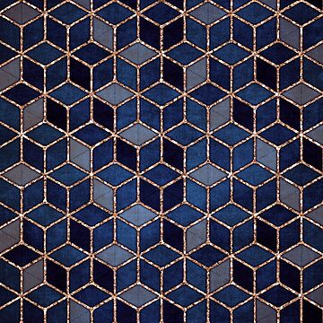 Shades Of Purple & Blue Cubes Pattern by nomadartstudio