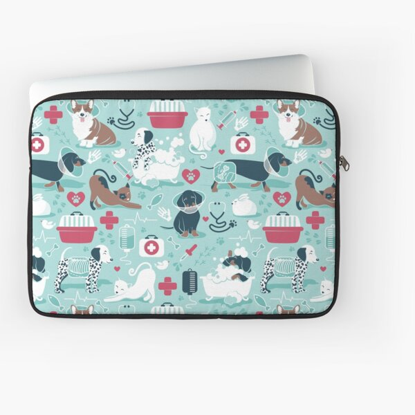 Veterinary medicine, happy and healthy friends // aqua background red details navy blue white and brown cats dogs and other animals Laptop Sleeve