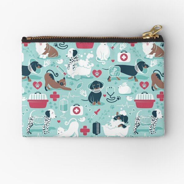 Veterinary medicine, happy and healthy friends // aqua background red details navy blue white and brown cats dogs and other animals Zipper Pouch