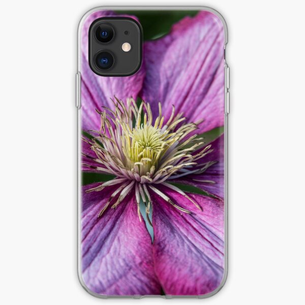 Pink Clematis - Macro Photography iPhone Soft Case