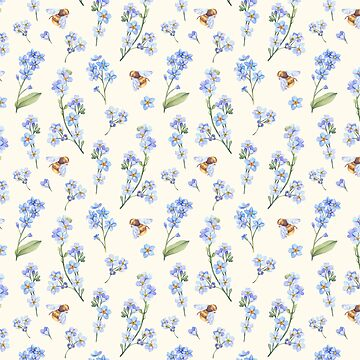 Blue Flowers with Bees-Floral Pattern by broadmeadow