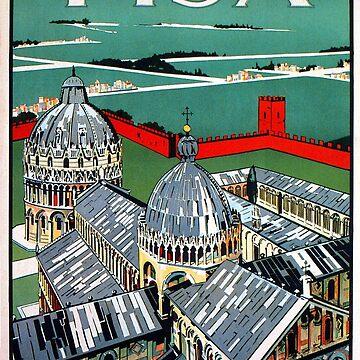 Vintage 1920s Pisa Italian travel advert by aapshop