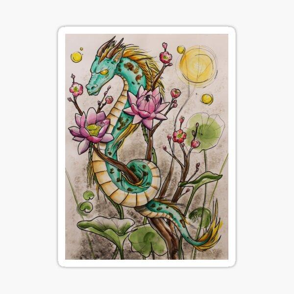 Dragon aux Lotus Sticker