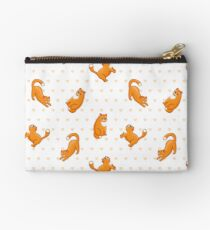 funny ginger cat in various poses, background with hearts Studio Pouch