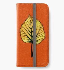 Yellow Linden Leaf On Orange | Decorative Botanical Art iPhone Wallet/Case/Skin