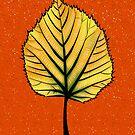 Yellow Linden Leaf On Orange | Decorative Botanical Art by Boriana Giormova