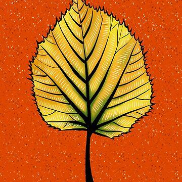 Yellow Linden Leaf On Orange | Decorative Botanical Art by azzza