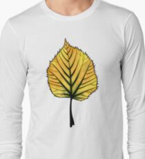 Yellow Linden Leaf On Orange | Decorative Botanical Art Long Sleeve T-Shirt