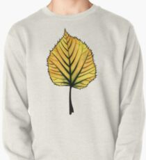 Yellow Linden Leaf On Orange | Decorative Botanical Art Pullover
