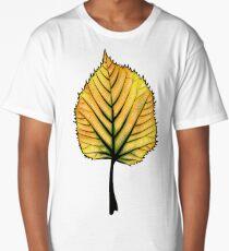 Yellow Linden Leaf On Orange   Decorative Botanical Art Long T-Shirt