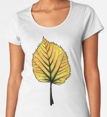 Yellow Linden Leaf On Orange   Decorative Botanical Art Women's Premium T-Shirt