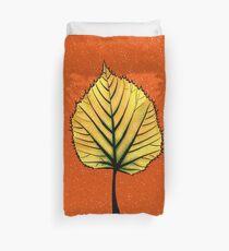 Yellow Linden Leaf On Orange | Decorative Botanical Art Duvet Cover