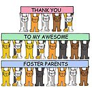 Thank you to foster parents, cute cartoon cats. by KateTaylor