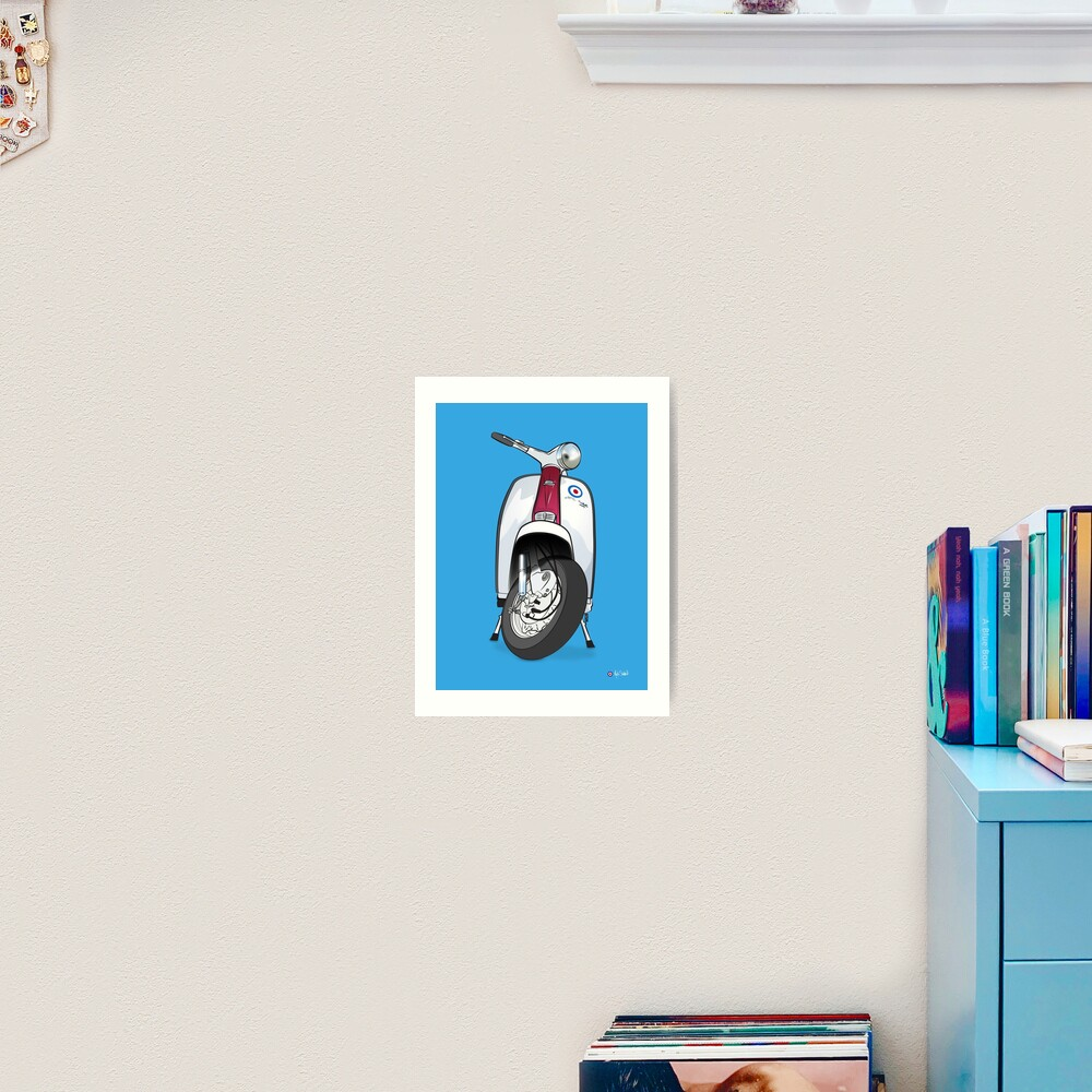 POP ART! Lambretta on Blue Background Art Print
