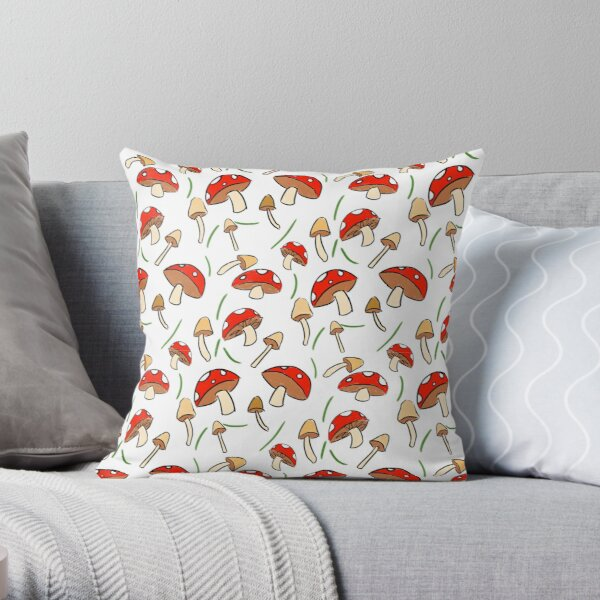 Mushroom Pattern Throw Pillow